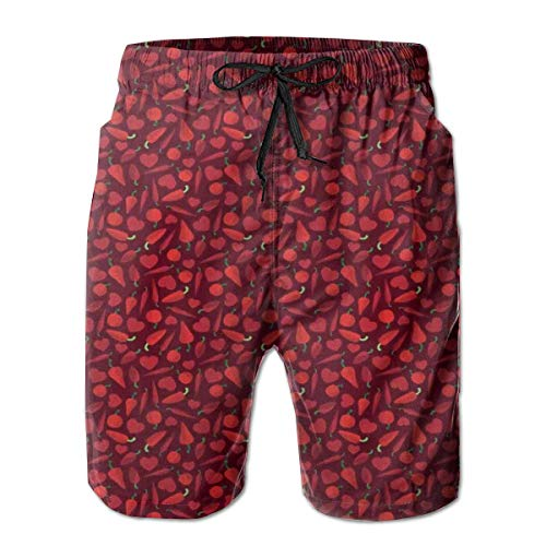 Men's Sports Beach Shorts Board Shorts,Hearts Peppers and Tomatoes Valentines Day Food Theme Romantic Meal Elements,Surfing Swimming Trunks Bathing Suits Swimwear,Medium