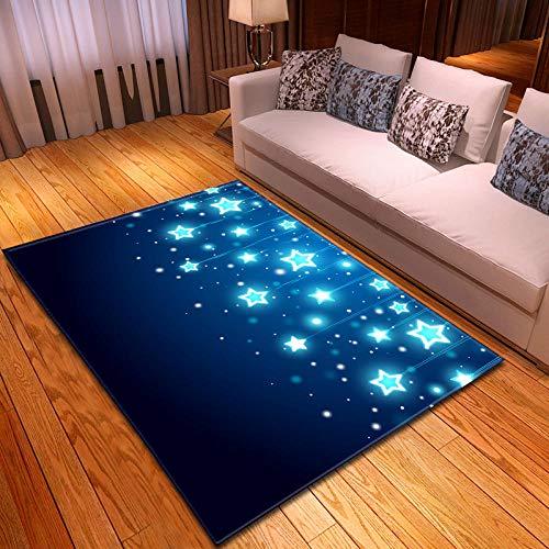 Alfombras Salon Grandes 60x90cm Estrellas Azul Cielo Patrón Diseño Moderno Alfombras Mullida Tacto Suave Antideslizante Lavable Que no se Desprende Aplicar para Dormitorio Cocina Pasillo Habitacion