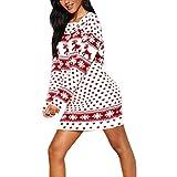 LANSKIRT Suéter Vestidos Navideños para Mujer Vestidos de Navidad Manga Larga hasta Rodilla con Estampado de Copo de Nieve y Alce Navideño Sweater Christmas Jumpers Pullover