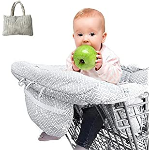 Customer reviews Purebesi 2-in-1 Shopping Cart Cover High Chair Cover Ultra Plush Seat Pad 100 Percent Cotton Upper Full Safety Harness Machine Washable for Baby Toddler:Qukualian