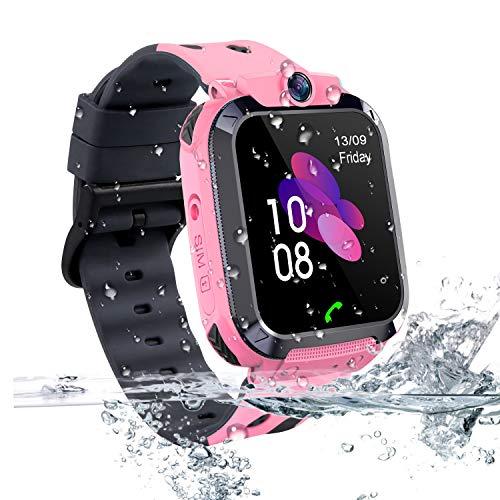 Vannico Smartwatch Niños, Reloj Localizador LBS Niños Impermeable Smartwatch con Linterna de Llamada SOS Cámara Pantalla Táctil Inteligente Smartwatch Childrens Gift(Rosa)