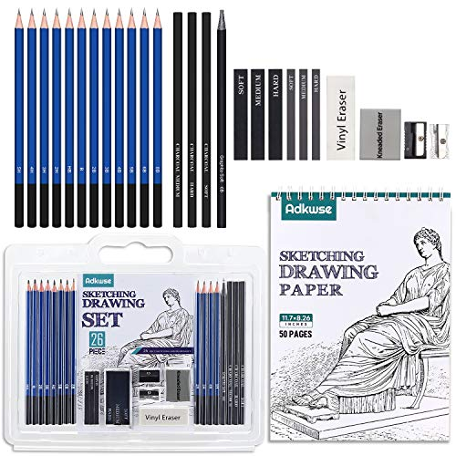 Adkwse Sketch Pencils Set, Art Supplies, Drawing Set, Graphite and Charcoal Pencils, 100 Page Drawing Pad and Kneaded Eraser, Art Kit and Supplies for Kids, Teens and Adults, Sketch Set