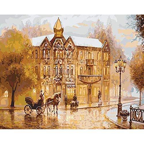 YSNMM Vervoer Stad Schilderen Door Getallen Diy Landschap Muur Kunst Beeld Acryl Canvas Schilderij Bruiloft Decoratie