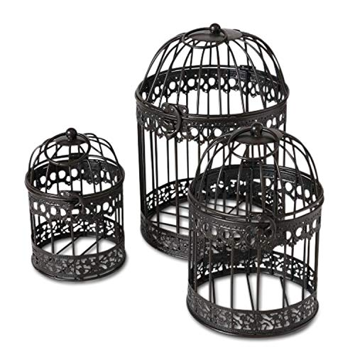 Farmers Market Wedding Bird Cages, Set of 3, Rustic Black Finish, Iron, Latch Top, Decorative Holders for Florals, Candles and More, Metal, Handmade, Rustic Vintage Up-cycled Style, from 1 Ft Tall