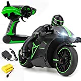 Speedy Race Lightning Remote Control Motorcycle w/ Rider Patrol Gyro Balanced Tilt & Lean Functions, LED Head Lights Performance Grip Motor Bike Dirt Tires Wheels 2.4 GHz Radio RC Rechargeable (Green)