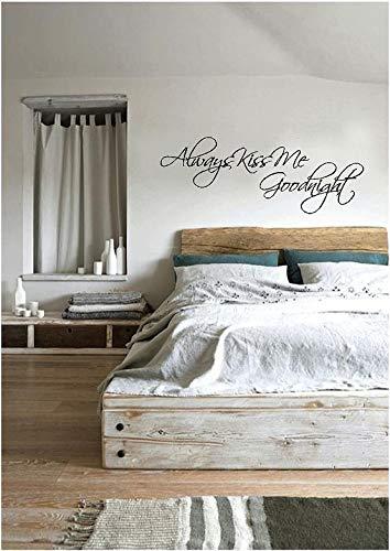 Autocollant mural en vinyle « Always Kiss Me Goodnight » - Décoration romantique pour chambre à coucher, mariage - Always Me Kiss Good