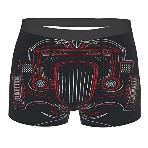QYUESHANG Männerunterwäsche,Automobil Hot Rod Retro Auto Nadelstreifen Schöne abstrakte Legierung American Auto, Boxershorts Atmungsaktive Komfortunterhose Größe XL