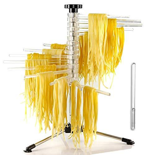 SmartSF Nudeltrockner für Pastatrockner Pasta, Armlänge 20cm 16 abnehmbaren Armen, Edelstahl, faltbar - Spaghetti-Trockner, Pasta Drying Rack