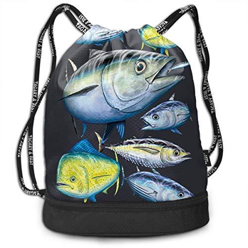 Tuna and Mahi Mahi Drawstring Backpack Sac à dos Rucksack Sports Gym Cinch Sack Bag for Kids Gym Gymsack Sackpack