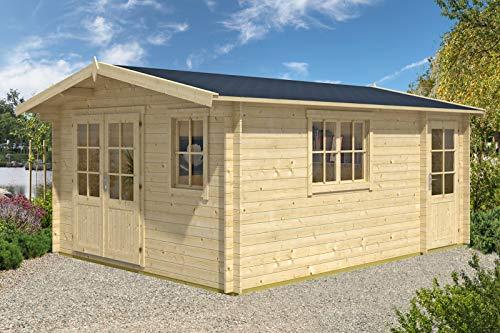 Alpholz Gartenhaus Jennifer-28 aus Massiv-Holz | Gerätehaus mit 28 mm Wandstärke | Garten Holzhaus inklusive Montagematerial | Geräteschuppen Größe: 380 x 500 cm | Satteldach