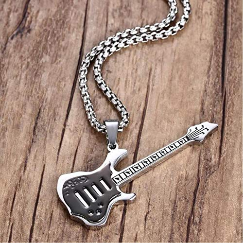 VFDGB Cool Black Guitarra Eléctrica Colgante Collar Acero Inoxidable Hombres Hiphop Rock...