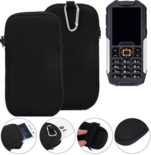 K-S-Trade Neopren Hülle für Cyrus cm 7 Schutzhülle Neoprenhülle Sleeve Handyhülle Schutz Hülle Handy Gürtel Tasche Case Handytasche schwarz