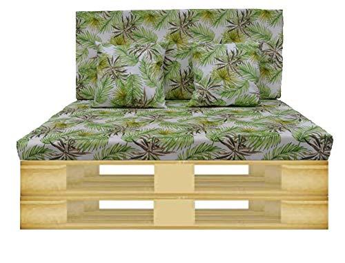 Gbla Colchon y Respaldo de Espuma para Sofá de Palet Enfundado en Tejido - Ideal para Jardín, Terraza, Patio,Salón y Balcón (Verde Hierba)