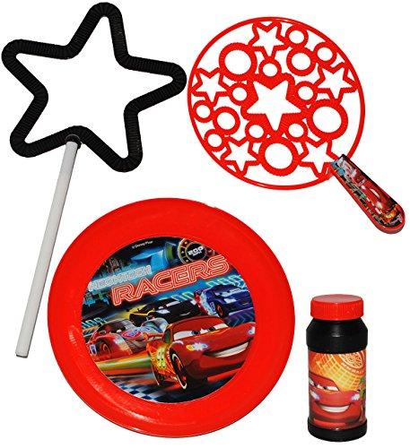 alles-meine.de GmbH XL Seifenblasen & Spiel - Set -  Disney Cars - Lightning McQueen  - Seifenblasenspiel - XXL Seifenblasen & kleine - Sterne / + Frisbee Scheibe - Wurfscheibe..