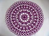 Extra und wunderschönes Häkeldeckchen rund aus weinrotem/lila Baumwollgarn