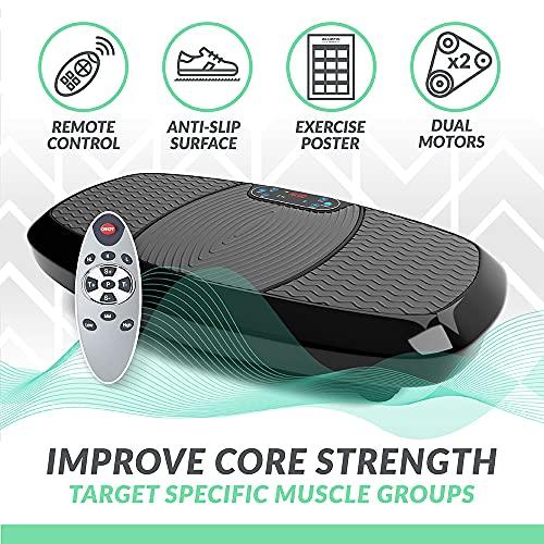 Bluefin Fitness Dual Motor 3D Power Vibration Plate | Oscillation, Vibration + 3D Motion | Huge Anti-Slip Surface | Bluetooth Speakers | Lose Fat & Tone Up at Home | UK Design (Black)