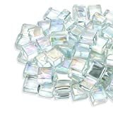HOMEGLOW Fire Glass Cubes. Premium Tempered Square Glass Beads for Outdoor Fire Pit, Fire Table or Indoor Fireplace; Gas or Propane. Clear/Platinum Reflective Luster. 10 Pounds.