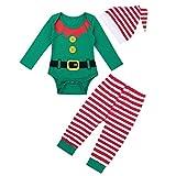 Freebily Unisexo Disfraz Duende Elfo de Navidad Bebé Niño con Gorro de Papa Noel Ropa Conjunto Pijama Bodies Manga Larga Pantalones Rayadas Elástica Verde 0-3 Meses