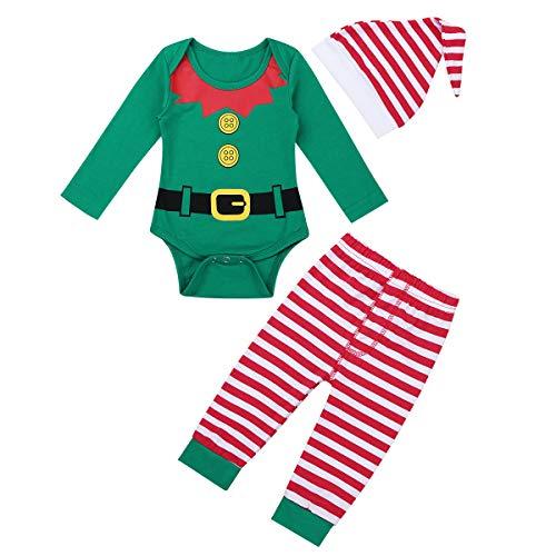 Freebily Unisexo Disfraz Duende Elfo de Navidad Bebé Niño con Gorro de Papa Noel Ropa Conjunto Pijama Bodies Manga Larga Pantalones Rayadas Elástica Verde 9-12 Meses