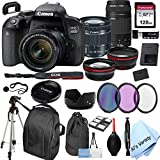 Canon EOS 800D (Rebel T7i)DSLR Camera with 18-55mm f/4-5.6 IS STM Zoom Lens + 75-300mm F/4-5.6 III Lens + 128GB Card, Filters, 2X Telephoto Lens, HD Wide Angle Lens, Hood, Lens Pouch, and More (28pcs)