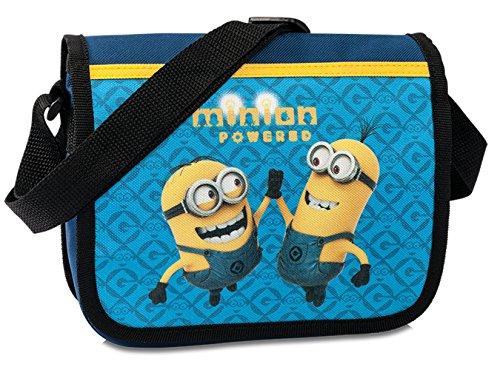 Minions Kindertasche Kindergarten Tasche in Blau Umhängetasche mit Klettverschluss & verstellbarem Gurt