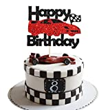 Maicaiffe Black Glittle Racing Car Theme Birthday Cake Topper - Checkered Flag Racing Theme Party Decor - Baby Shower/Birthday Cars Transportation Theme Party Cake Topper