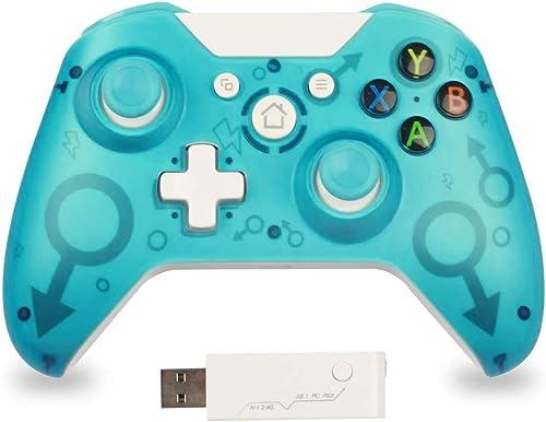 Manette sans Fil pour Xbox One, 2,4G Bluetooth Manette Compatible avec Xbox One/Xbox Series X/PS3/PC, Manette Ergonom...