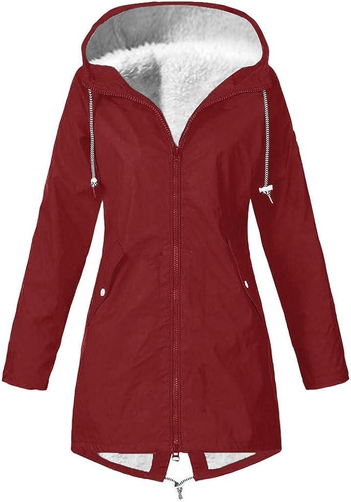 Women Solid Winter Warm Thick Outdoor Plus Size Hooded Raincoat Windproof Hoodies Outerwear Coat Overcoat