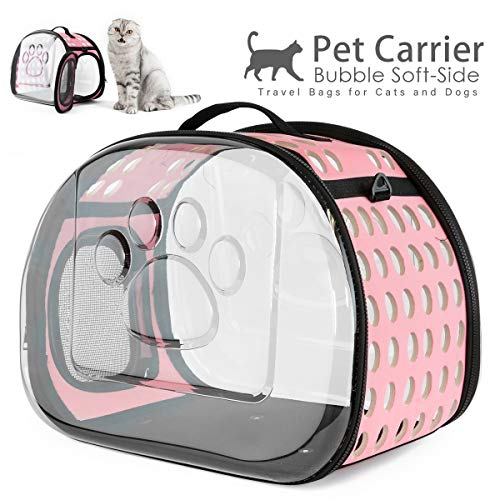 AVAFORT Soft-Side Cat Dog Carrier, Collapsible Clear Tote for Small Animals,Airline Approved Transparent Pet Carrier Bag, Breathable Portable Traveling Camping Hiking Outdoor Bags