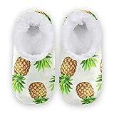 linomo Zapatillas vintage de piña para mujer, pantuflas de casa para mujer, zapatos de casa, zapatos de dormitorio, calcetines, color Multicolor, talla 42/43 EU