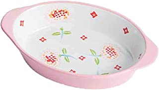 Baking Dish for Home Kitchen 9 Inch Oval Baking Roasting Serving Dish, 22X13.5X4 Cm gifts (Color : Pink)