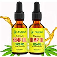 2-Pack Muxpun Organic Hemp Oil for Anxiety, Pain and Stress Relief, 5500MG