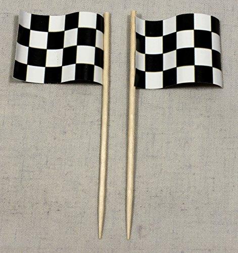 Buddel-Bini Party-Picker Ziel Flagge Zielflagge Motorsport Papierfähnchen in Profiqualität 50 Stück Beutel Offsetdruck Riesenauswahl aus eigener Herstellung