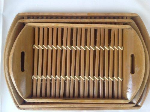 Lot de 3 tablettes en bambou serviertablet coupe t3684 coupe à fruits