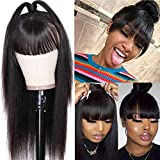 Peiyulex Straight Human Hair Wigs with Bangs Brazilian Virgin Hair 150% Density Machine Made 4X2 Inch Scalp Base Closure Non Lace Front Wigs for Black Women Glueless Natural Color