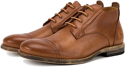 Pour des Hommes Travail Chaussures Chaussures Habillées Bottines en Cuir Véritable Hauts Haut Chaussures à Lacets Chaussures à Lacets Bottes Martin Bottes Vintage Chelsea,jaune,39