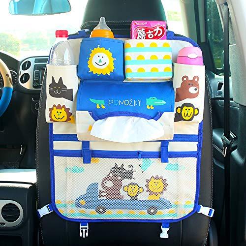 Jeu GeHL Organiseur de siège arrière de voiture, sac de siège de voiture, tapis de protection de dos de siège de bébé, plusieurs poches 43x53cm Happy Go