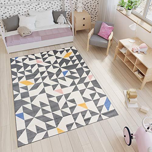 Tapiso Xeno Alfombra para Niños Bebés Jóvenes Diseño Moderno Gris Blanco Azul Rosa Amarillo Mosaico Triángulos 160 x 225 cm