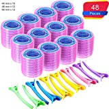 Super Jumbo Self Grip Hair Rollers Set 36 Count Mega Jumbo Large Self Holding Rollers and 12 Duck Teeth Bows Hairdressing Curlers for Women, Men (60 mm, 48 mm, 40 mm, 48 Pieces)
