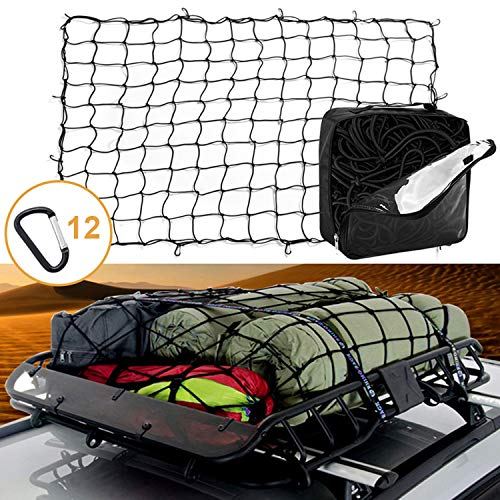 4#039x6#039 Latex Bungee Cargo Net Stretches to 8#039x12#039 Heavy Duty Elastic Luggage Car Rack Netting with 12 Aluminum DClip TangleFree Carabiners Truck Bed Mesh Spider Web Tie Down Pickup SUV Trailer Boat