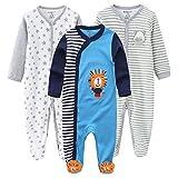 Kiddiezoom Pijama de algodón de manga larga para niños, Oso gris y estrella y león azul claro, 1 mes