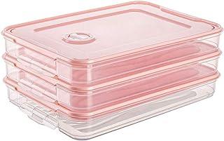 Cuisine Rangement Et Organisation Contenant À Plateau Container Simple Couche Empilable Avec Couvercle En Plastique Rose 3pcs
