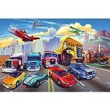 GREAT ART® XXL Póster Cuarto De Los Niños – Carrera De Coches – Mural Avión Cars Aventura Bomberos Deportivo Convertible Comic Cartel De La Pared Imagen (140 X 100 Cm)