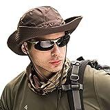 WANYIG Hombres Sombrero para el Sol Plegable Sombrero de Safari Trekking Senderismo Secado rápido Transpirable Mujere Sombrero de Pescador Verano Protección UV(café)