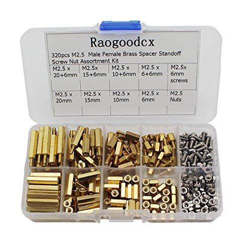 Raogoodcx 320Pcs M2.5 Macho Hembra Espaciador de latón Tornillo separador 6mm 10mm 15mm 20mm Kit de surtido de tuercas