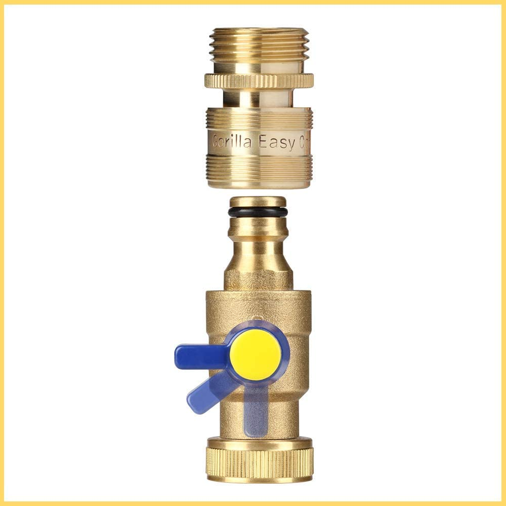 /¾ Inch GHT Solid Brass. GORILLA EASY CONNECT Garden Hose Quick Connect Fittings with Ball Valve