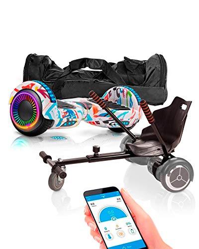 ACBK - Pack HoverKart + Hoverboard Patinete Eléctrico Autoequilibrio con Ruedas de 6.5' Control por App y Bolsa Transporte - (Altavoz Bluetooth + Ruedas LED) 10-12 km/h (Graffiti)