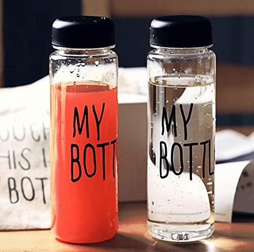 Juego de 2 botellas de 500 ml, botella de deporte, botella de agua transparente, botella de bebidas con bolsa de almacenamiento, bolsa antigoteo con tapa, My Bottle | botella de viaje transparente