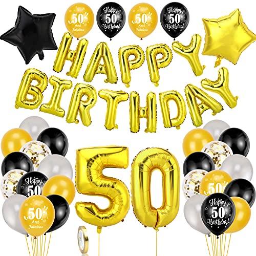 HOWAF Negro y Oro Decoración de Cumpleaños 50 para Hombre Mujer, 42pcs Feliz Cumpleaños Decoración Globos Pancartas 50 Años Globos de Confeti y Estrella Globos de Aluminio para 50 Años