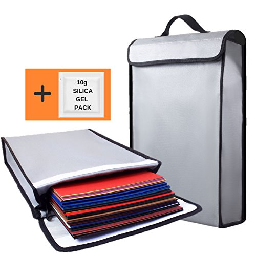 Fireproof Bag 2000°F Document Holder Waterproof Bags - Peace of Mind Security - Foldable for Fire Safe Box or Grab n Go Organizer for Money Battery Cash Legal Passport (15' x 11' x 3')